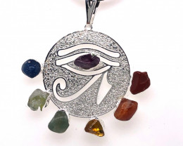 Egyptian Eye Seven Chakra - Natural Stones Pendant & Black Chain BR 562