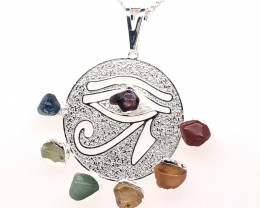 Egyptian Eye Seven Chakra - Natural Stones Pendant & Silver Chain BR 565