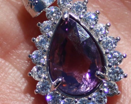 Amethyst 2.30ct, White Gold Finish, Solid 925 Sterling Silver Pendant, Natu