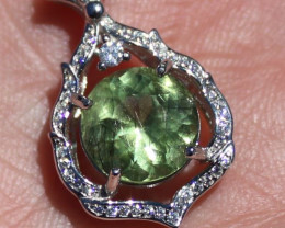 Peridot 3.40ct White Gold Finish Solid 925 Sterling Silver Pendant