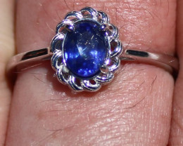 Blue Sapphire 1.20ct Solid 925 Sterling Silver Rhodium Finish Solitaire Rin