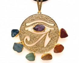 Egyptian Eye Seven Chakra - Natural Stones Pendant & Black Chain BR 568