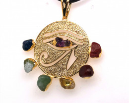 Egyptian Eye Seven Chakra - Natural Stones Pendant & Black Chain BR 569