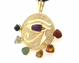 Egyptian Eye Seven Chakra - Natural Stones Pendant & Black Chain BR 570