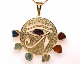 Egyptian Eye Seven Chakra - Natural Stones Pendant & Gold Chain BR 572