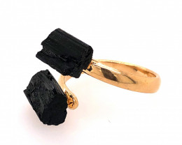 Raw Spiritual black Tourmaline Double Gemstone Ring BR 557