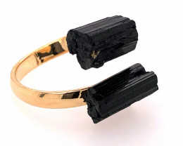 Raw Spiritual black Tourmaline Double Gemstone Ring BR 559