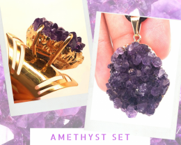 Amethyst Raw  Set - High Grade Druzy Gold Ring & Pendant   BR 579