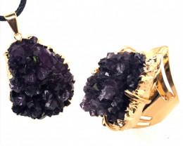 Amethyst Raw Set - High Grade Druzy Gold Ring & Pendant BR 580