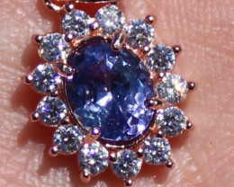 Tanzanite 1.05ct, Rose Gold Finish, Solid 925 Sterling Silver Pendant, Natu