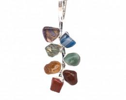 Leaf Seven Chakra - Natural Stones Pendant & Black Chain BR 583