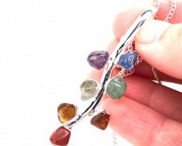 Leaf Seven Chakra - Natural Stones Pendant & Silver Chain BR 588