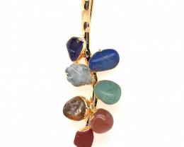 Leaf Seven Chakra - Natural Stones Pendant & Gold Chain BR 594