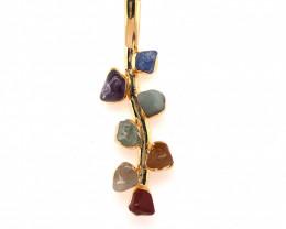 Leaf Seven Chakra - Natural Stones Pendant & Gold Chain BR 595