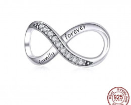 7.20 Ct Real Sterling Silver 925 Infinity Family Forever Clear Crystal Char