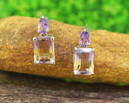 Natural Ametrine & Amethyst 925 Sterling Silver Earrings (SSE0502)
