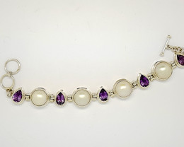 Natural Amethyst And Pearl Bracelet 925 Sterling Bracelet (JE55)