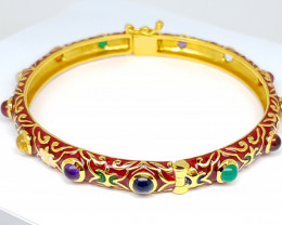 Natural Mix Gemstone Gold Bangle Plated Bracelet (JE56)