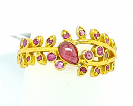 Natural Ruby Gold Bangle Plated Bracelet (JE57)