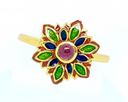 Natural Rubellite Tourmaline Ring Gold Plated (JE58)