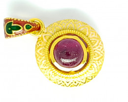 Natural Rubellite Tourmaline Gold Plated Pendant (JE59)