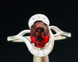Natural  Flawless   red  Spinel1.00 ct Transparent  white Rhodium 925 Sterl