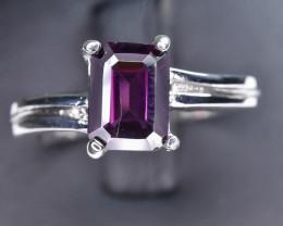 15.02 Crt Natural Rhodolite Garnet 925 Silver Ring