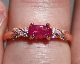 Tajik Ruby .72ct Rose Gold Finish Solid 925 Sterling Silver Ring,Natural,Un