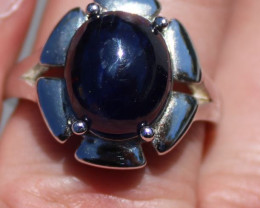 Blue Sapphire 10.22ct Solid 925 Sterling Silver Rhodium Finish Solitaire Ri