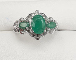 Natural Nice Color  Emerald Ring In 925 Silver