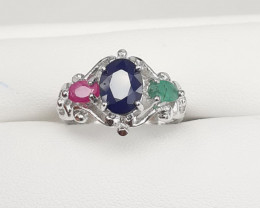 Natural 3 Stone  Amazing Cobination Ruby, Emerald And Sapphire 925 Silver R