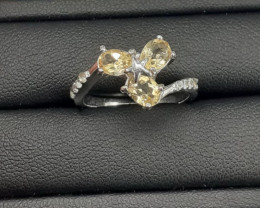 Natural sitrine Ring In 925 silver