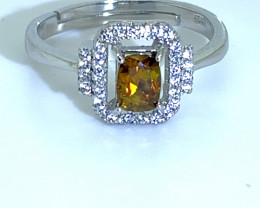 Sphene 1.20ct White Gold Finish Solid 925 Sterling Silver Ring,Natural,Untr
