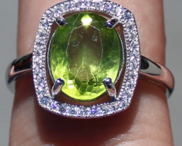 Peridot 3.00ct White Gold Finish Solid 925 Sterling Silver Ring