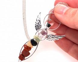 Seven Chakra - natural stones - Angel pendant & Silver Chain 602