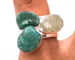 Three Raw Agate Gemstone in electroformed Silver Plated Ring BR 608