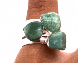 Three Raw Agate Gemstone in electroformed Silver Plated Ring BR 609
