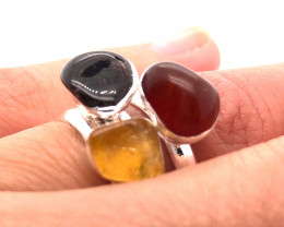Three Raw Agate Gemstone in electroformed Silver Plated Ring BR 612