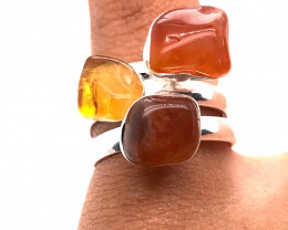Three Raw Agate Gemstone in electroformed Silver Plated Ring BR 613