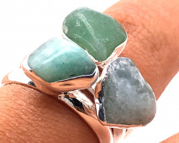 Three Raw Agate Gemstone in electroformed Silver Plated Ring BR 615