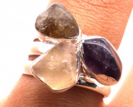 Three Raw Agate Gemstone in electroformed Silver Plated Ring BR 618