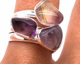 Three Raw Agate Gemstone in electroformed Silver Plated Ring BR 619