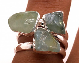 Three Raw Agate Gemstone in electroformed Silver Plated Ring BR 620
