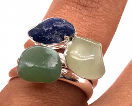 Three Raw Agate Gemstone in electroformed Silver Plated Ring BR 624