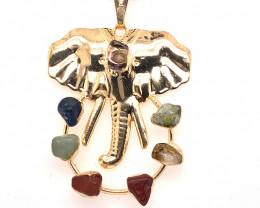 Elephant Seven Chakra - natural stones - Black Chain Pendant 631