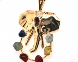 Elephant Seven Chakra - natural stones - Gold Chain Pendant 632
