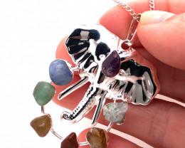 Elephant Seven Chakra - natural stones - Silver Chain Pendant 633