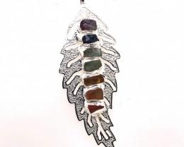 Leaf Seven Chakra - natural stones - Black Chain Pendant 636