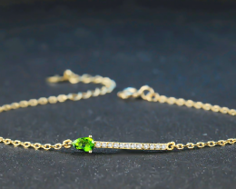 6.45 Ct 925 Sterling Silver Bracelets Green Diopside & Zircons Gemstone Bra