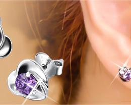 7.80 Ct  Heart  Amethyst Real 925 Sterling Silver Stud Earrings